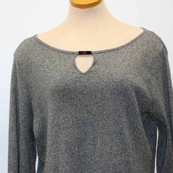 Rafaella Sweaters - Rafaella Grey Long Sleeve Pepper color Sweater